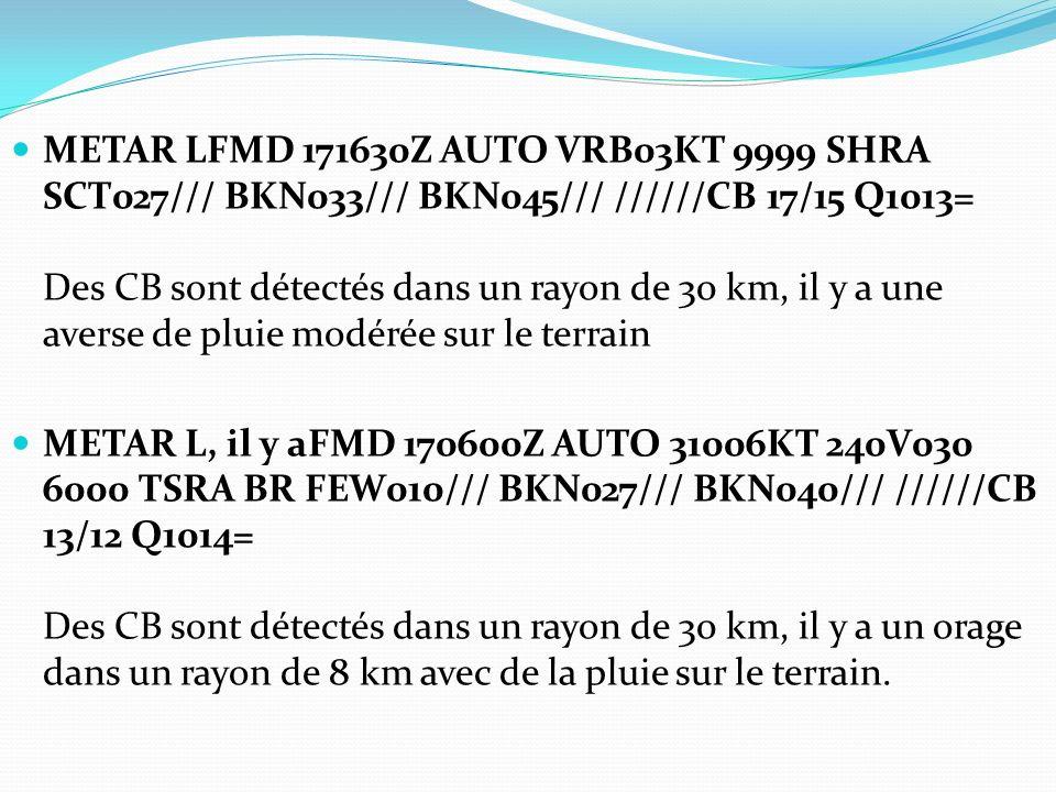 METAR LFMD 171630Z AUTO VRB03KT 9999 SHRA SCT027/// BKN033/// BKN045/// //////CB 17/15 Q1013= Des CB sont détectés dans un rayon de 30 km, il y a une