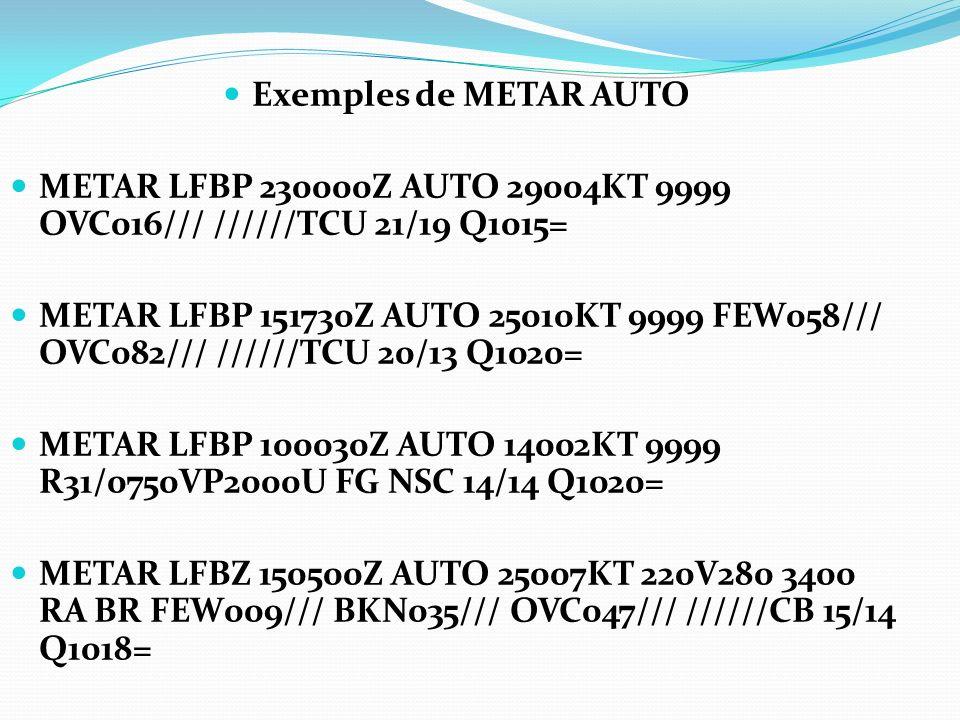 Exemples de METAR AUTO METAR LFBP 230000Z AUTO 29004KT 9999 OVC016/// //////TCU 21/19 Q1015= METAR LFBP 151730Z AUTO 25010KT 9999 FEW058/// OVC082///