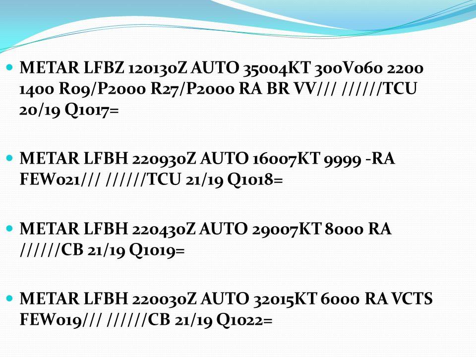 METAR LFBZ 120130Z AUTO 35004KT 300V060 2200 1400 R09/P2000 R27/P2000 RA BR VV/// //////TCU 20/19 Q1017= METAR LFBH 220930Z AUTO 16007KT 9999 -RA FEW0