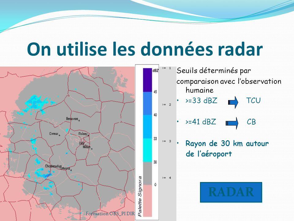 On utilise les données radar Formation OBS_PI DIRSO 2006 Seuils déterminés par comparaison avec lobservation humaine >=33 dBZ TCU >=41 dBZ CB Rayon de