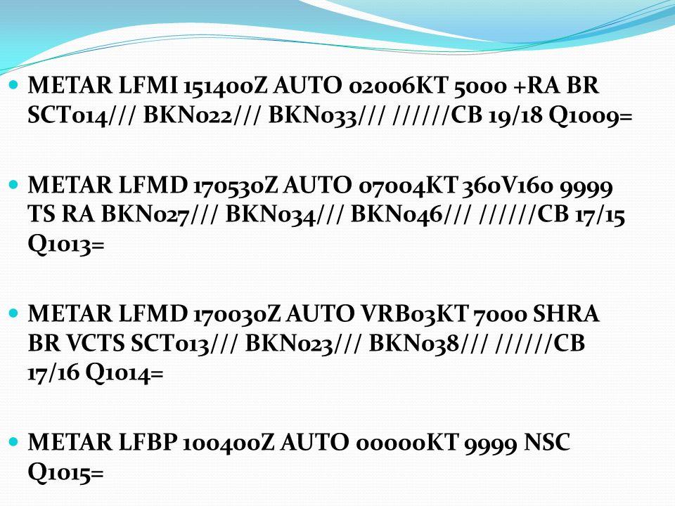 METAR LFMI 151400Z AUTO 02006KT 5000 +RA BR SCT014/// BKN022/// BKN033/// //////CB 19/18 Q1009= METAR LFMD 170530Z AUTO 07004KT 360V160 9999 TS RA BKN