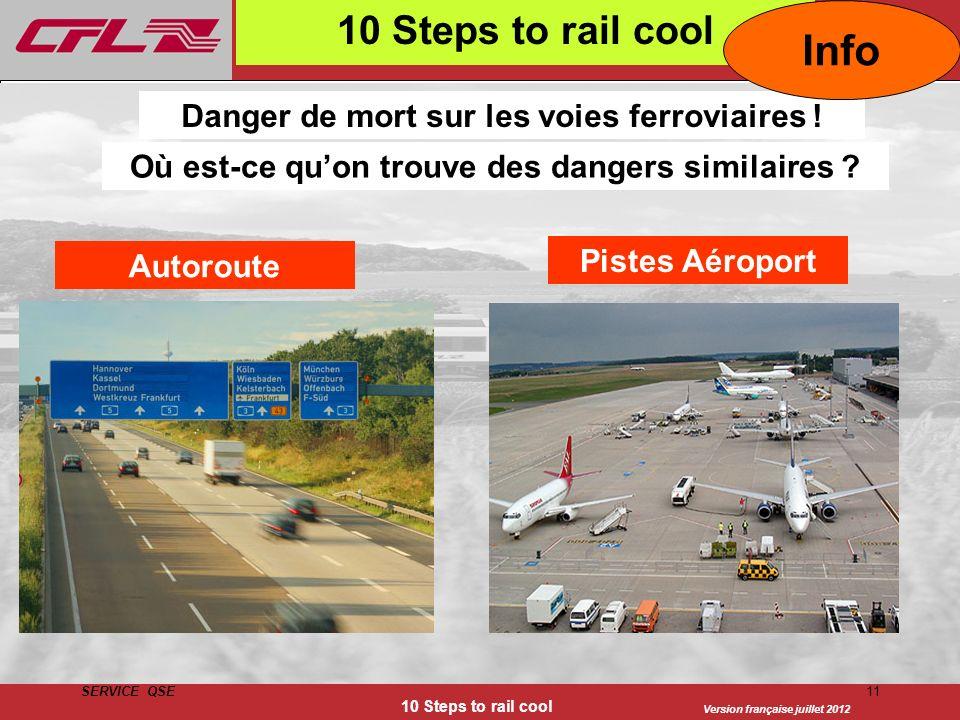 Version française juillet 2012 SERVICE QSE 10 Steps to rail cool 11 10 Steps to rail cool Danger de mort sur les voies ferroviaires ! Où est-ce quon t