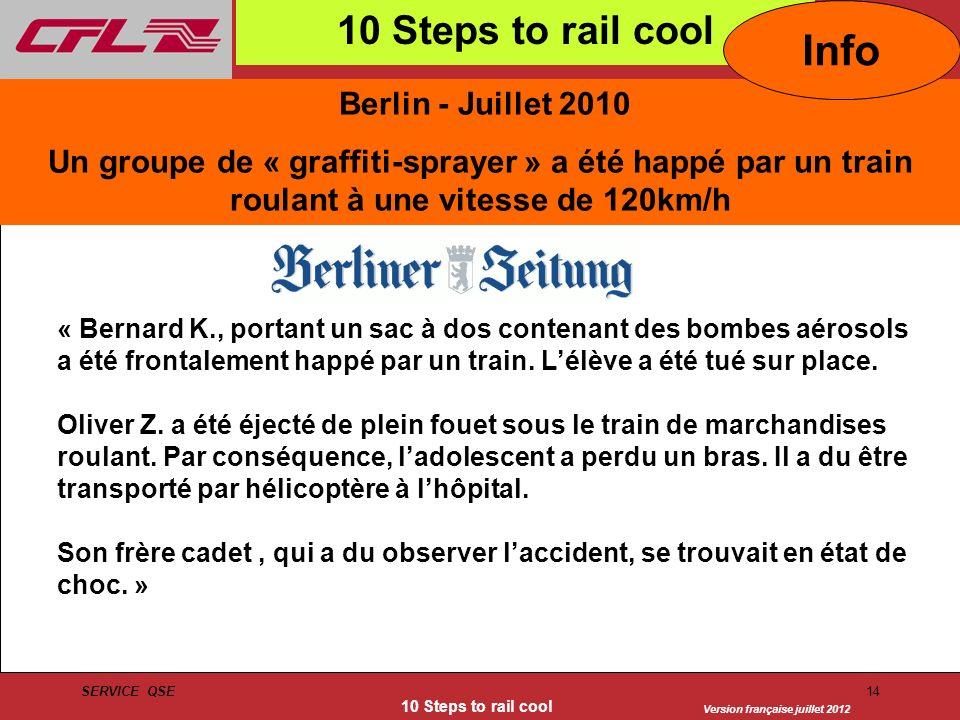Version française juillet 2012 SERVICE QSE 10 Steps to rail cool 14 Berlin - Juillet 2010 Un groupe de « graffiti-sprayer » a été happé par un train r