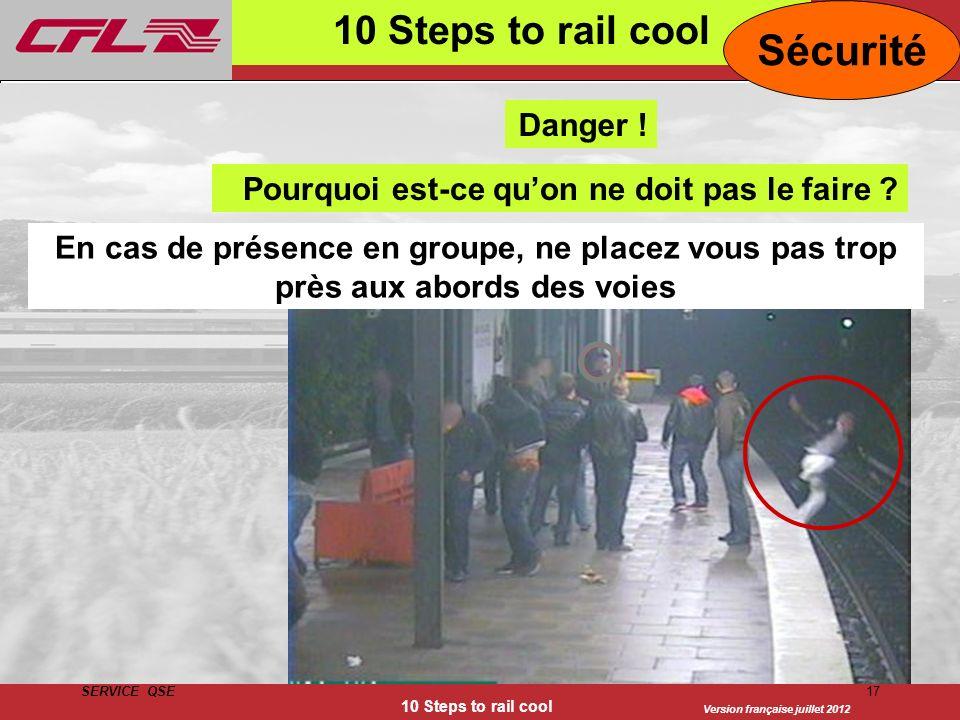 Version française juillet 2012 SERVICE QSE 10 Steps to rail cool 17 10 Steps to rail cool Sécurité En cas de présence en groupe, ne placez vous pas tr