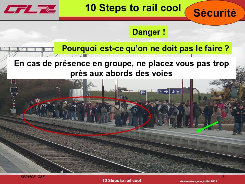 Version française juillet 2012 SERVICE QSE 10 Steps to rail cool 18 10 Steps to rail cool Sécurité Nie in der Gruppe zu nahe am Gleisbereich stehen En