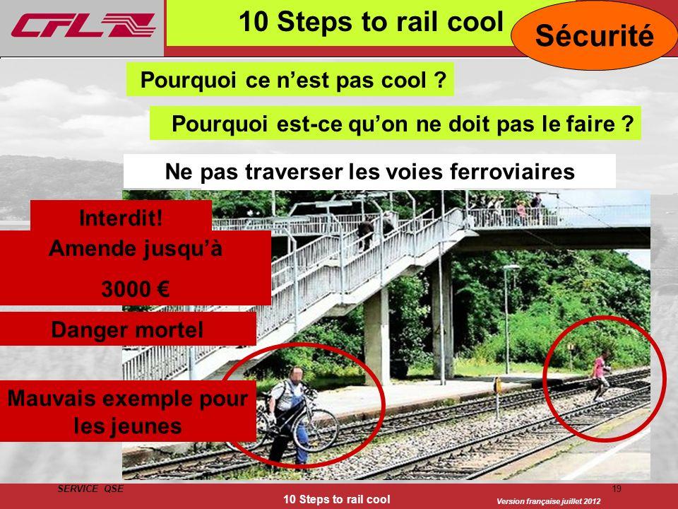 Version française juillet 2012 SERVICE QSE 10 Steps to rail cool 19 10 Steps to rail cool Gleise überqueren Interdit! Amende jusquà 3000 Mauvais exemp