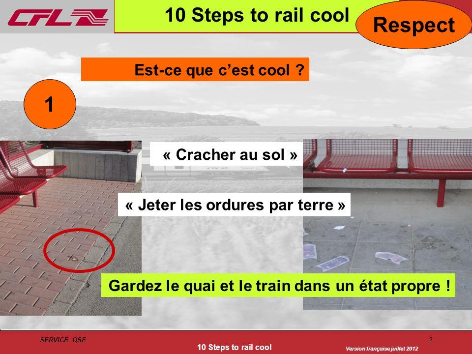 Version française juillet 2012 SERVICE QSE 10 Steps to rail cool 2 1 Est-ce que cest cool ? Respect « Jeter les ordures par terre » « Cracher au sol »