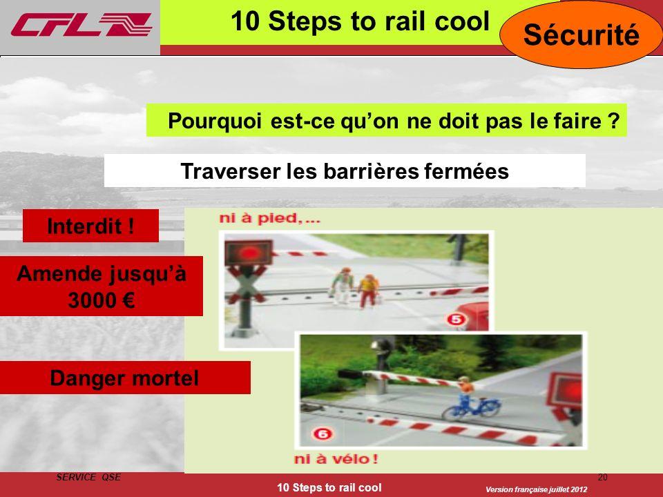 Version française juillet 2012 SERVICE QSE 10 Steps to rail cool 20 10 Steps to rail cool Traverser les barrières fermées Sécurité Interdit ! Amende j