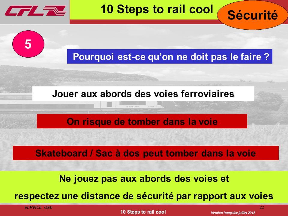 Version française juillet 2012 SERVICE QSE 10 Steps to rail cool 22 10 Steps to rail cool Pourquoi est-ce quon ne doit pas le faire ? Jouer aux abords