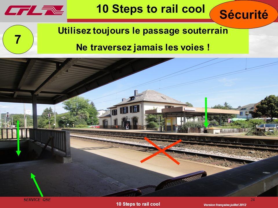 Version française juillet 2012 SERVICE QSE 10 Steps to rail cool 24 10 Steps to rail cool Utilisez toujours le passage souterrain Ne traversez jamais