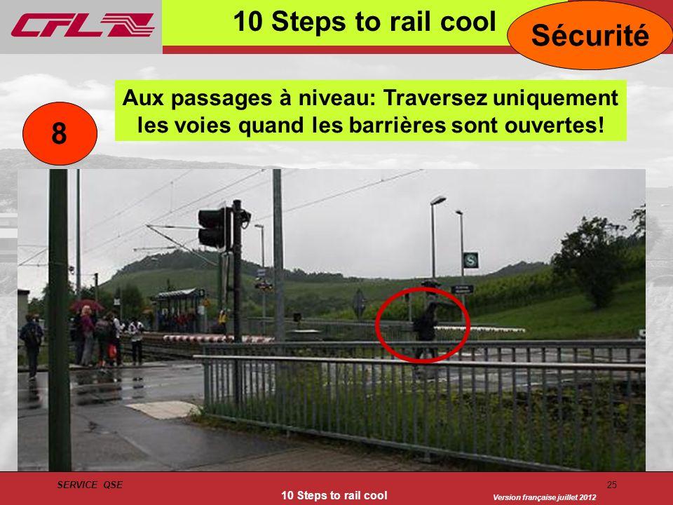 Version française juillet 2012 SERVICE QSE 10 Steps to rail cool 25 10 Steps to rail cool Sécurité Aux passages à niveau: Traversez uniquement les voi