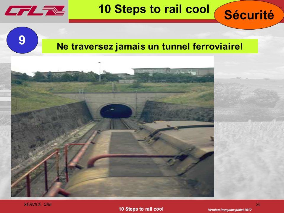 Version française juillet 2012 SERVICE QSE 10 Steps to rail cool 26 10 Steps to rail cool Sécurité Ne traversez jamais un tunnel ferroviaire! 9