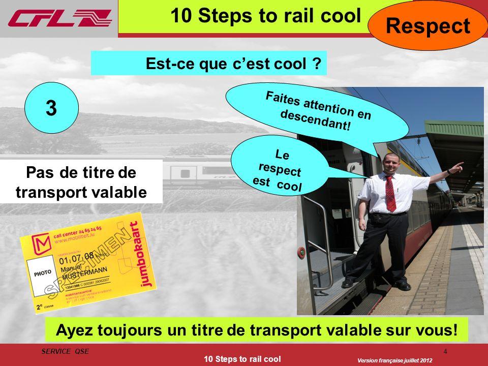 Version française juillet 2012 SERVICE QSE 10 Steps to rail cool 4 3 Est-ce que cest cool ? Pas de titre de transport valable Ayez toujours un titre d
