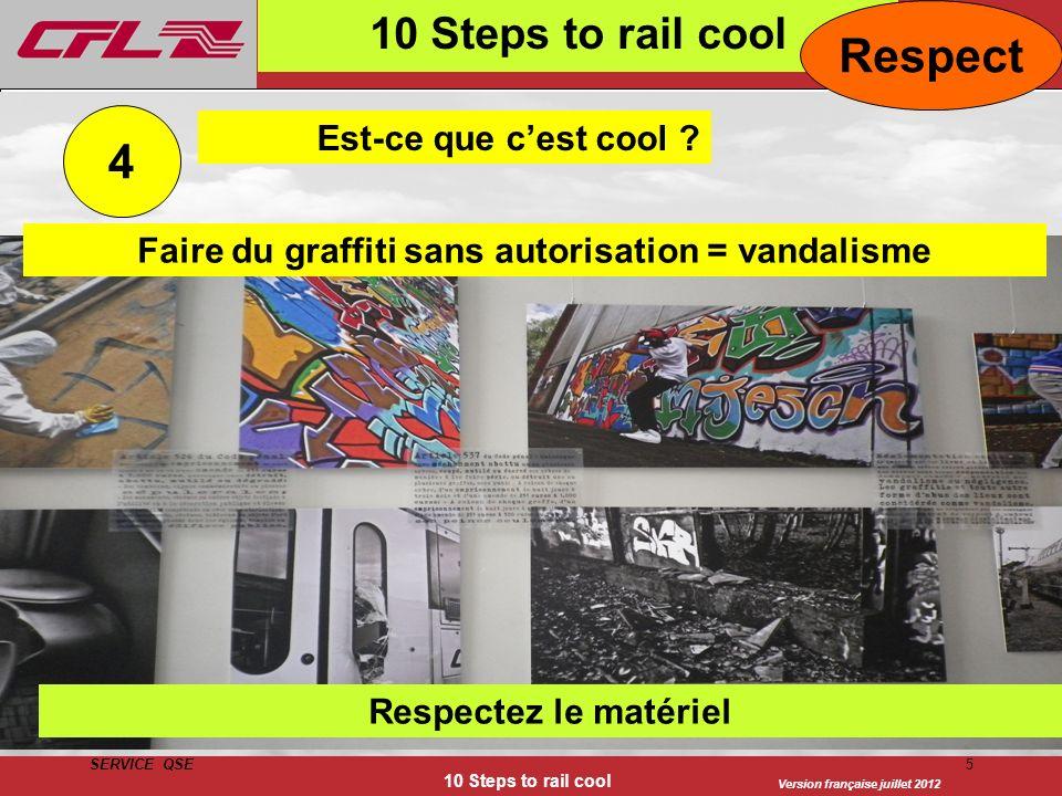 Version française juillet 2012 SERVICE QSE 10 Steps to rail cool 5 4 Est-ce que cest cool ? Respectez le matériel 10 Steps to rail cool Respect Faire
