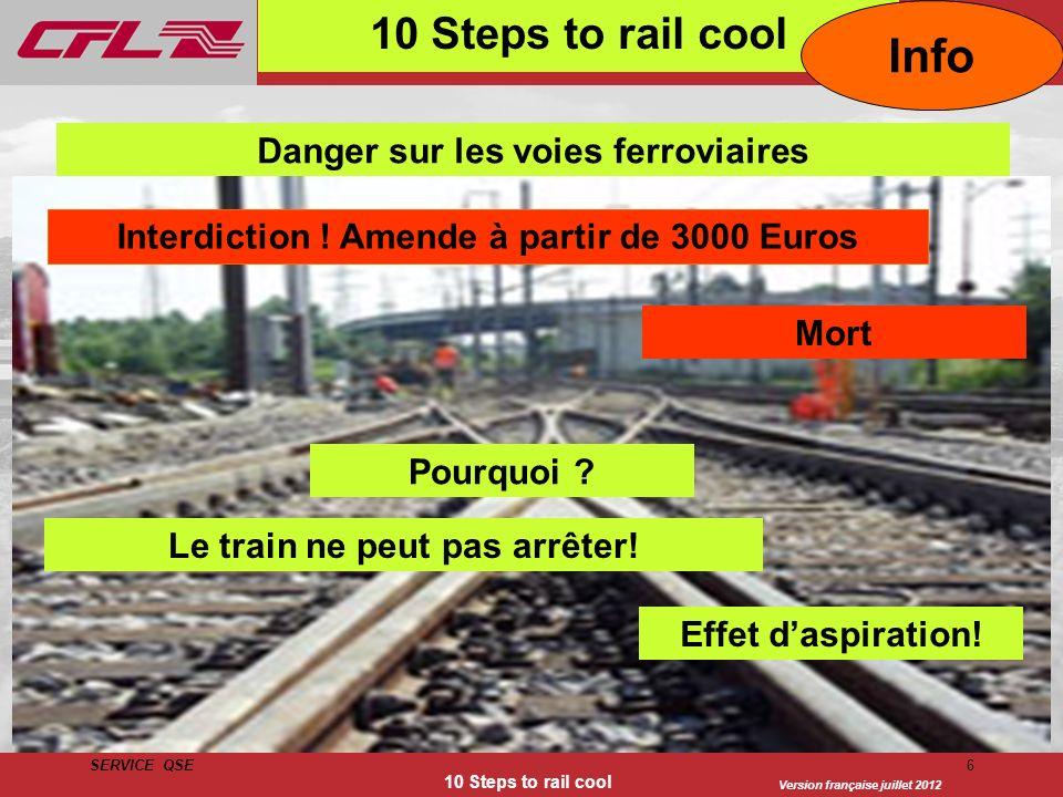 Version française juillet 2012 SERVICE QSE 10 Steps to rail cool 6 Danger sur les voies ferroviaires Interdiction ! Amende à partir de 3000 Euros Mort
