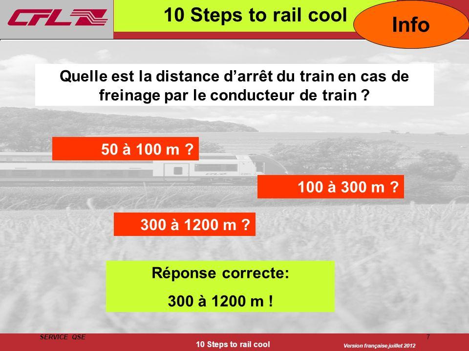 Version française juillet 2012 SERVICE QSE 10 Steps to rail cool 7 Quelle est la distance darrêt du train en cas de freinage par le conducteur de trai