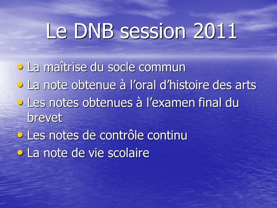 Le DNB session 2011 Le DNB session 2011 La maîtrise du socle commun La maîtrise du socle commun La note obtenue à loral dhistoire des arts La note obt