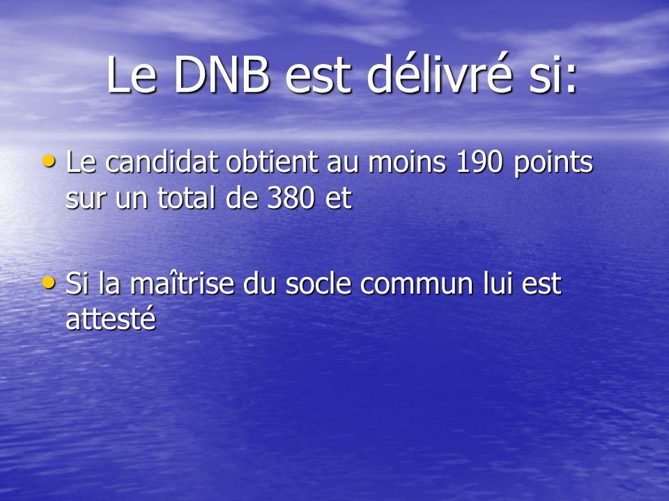 Le DNB est délivré si: Le DNB est délivré si: Le candidat obtient au moins 190 points sur un total de 380 et Le candidat obtient au moins 190 points s