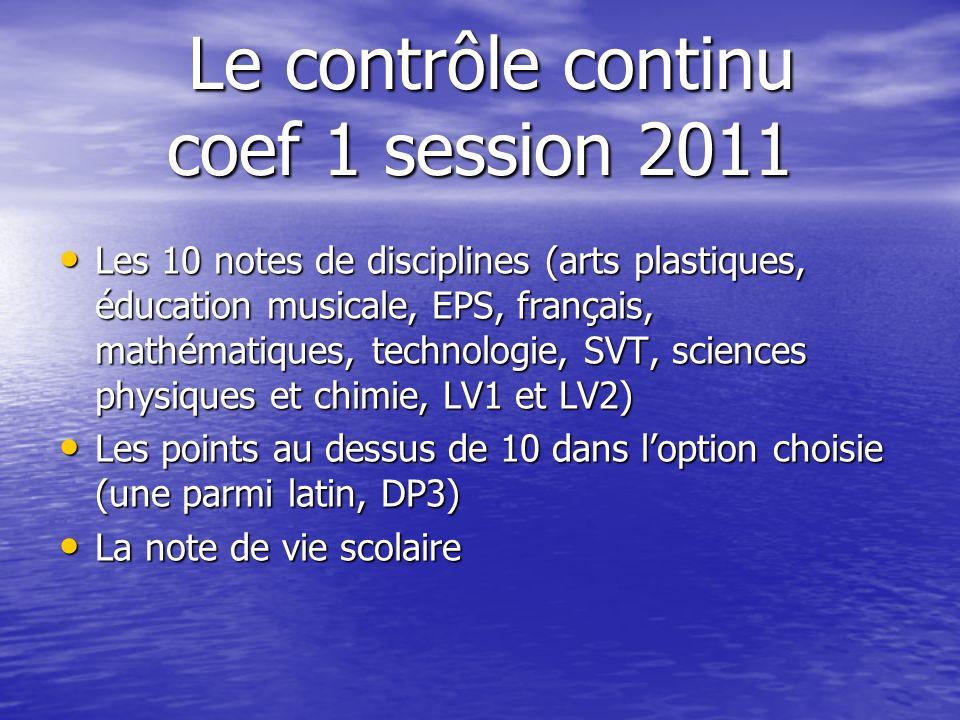 Le contrôle continu coef 1 session 2011 Le contrôle continu coef 1 session 2011 Les 10 notes de disciplines (arts plastiques, éducation musicale, EPS,