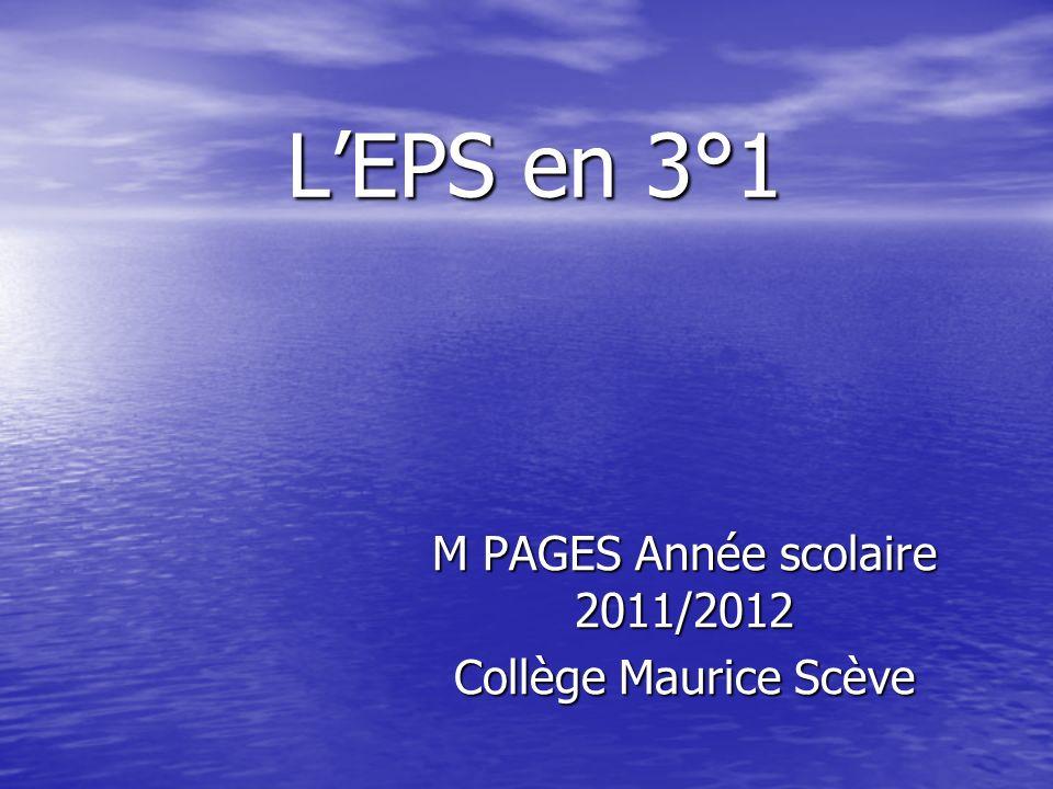 LEPS en 3°1 M PAGES Année scolaire 2011/2012 Collège Maurice Scève