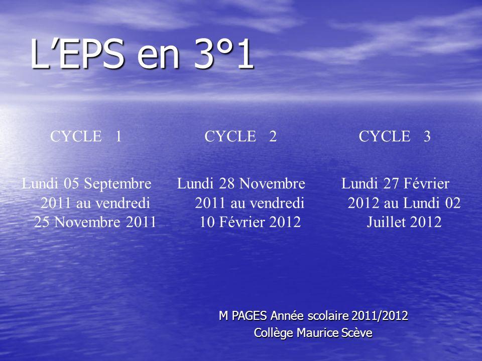 LEPS en 3°1 CYCLE 1CYCLE 2CYCLE 3 Lundi 05 Septembre 2011 au vendredi 25 Novembre 2011 Lundi 28 Novembre 2011 au vendredi 10 Février 2012 Lundi 27 Fév