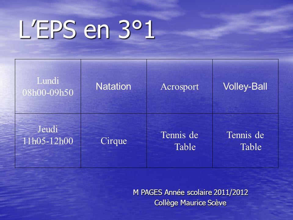 LEPS en 3°1 Lundi 08h00-09h50 Natation Acrosport Volley-Ball Jeudi 11h05-12h00Cirque Tennis de Table M PAGES Année scolaire 2011/2012 Collège Maurice