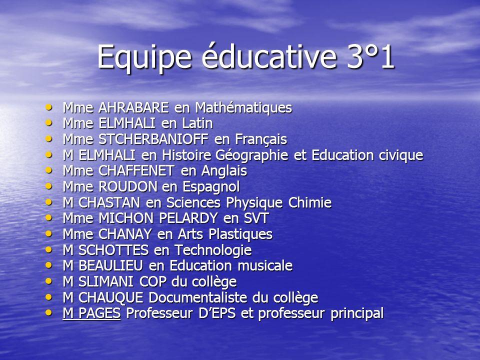 Equipe éducative 3°1 Equipe éducative 3°1 Mme AHRABARE en Mathématiques Mme AHRABARE en Mathématiques Mme ELMHALI en Latin Mme ELMHALI en Latin Mme ST
