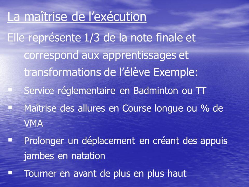 La maîtrise de lexécution Elle représente 1/3 de la note finale et correspond aux apprentissages et transformations de lélève Exemple: Service régleme