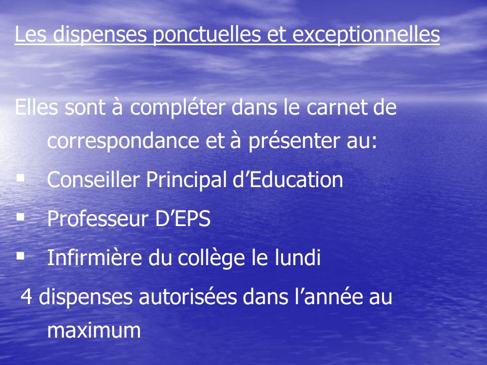 Les dispenses ponctuelles et exceptionnelles Elles sont à compléter dans le carnet de correspondance et à présenter au: Conseiller Principal dEducatio