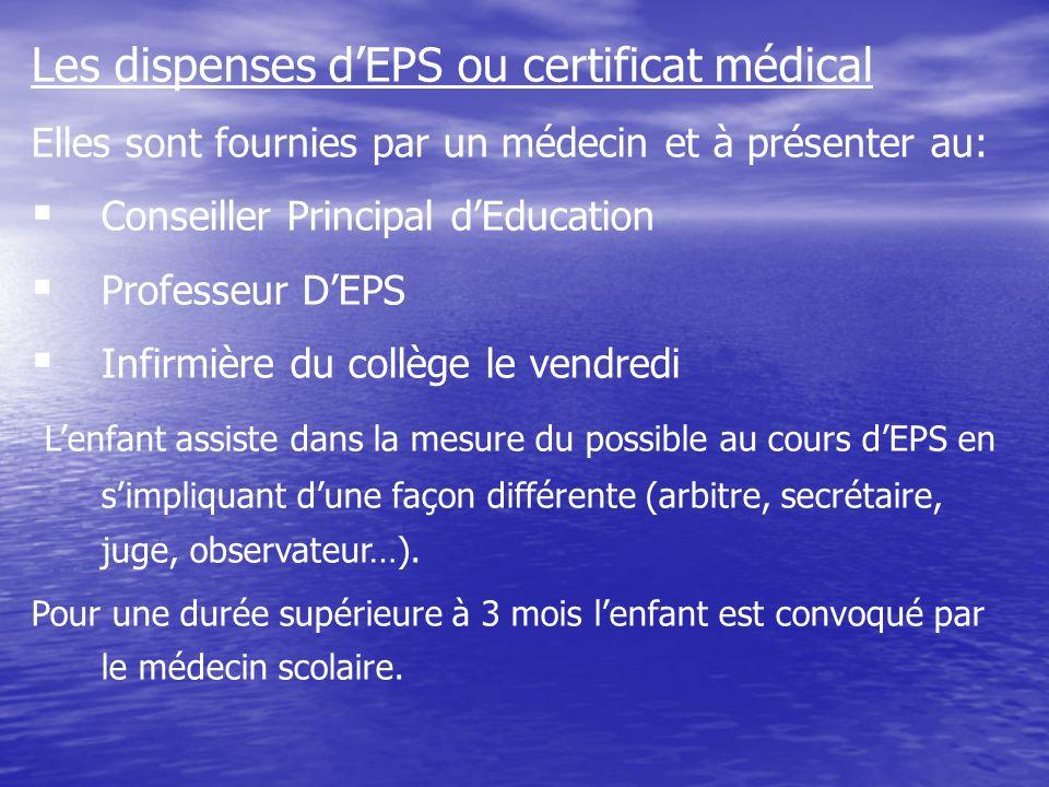 Les dispenses dEPS ou certificat médical Elles sont fournies par un médecin et à présenter au: Conseiller Principal dEducation Professeur DEPS Infirmi