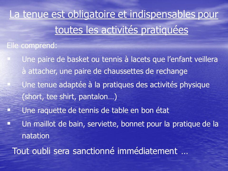 La tenue est obligatoire et indispensables pour toutes les activités pratiquées Elle comprend: Une paire de basket ou tennis à lacets que lenfant veil