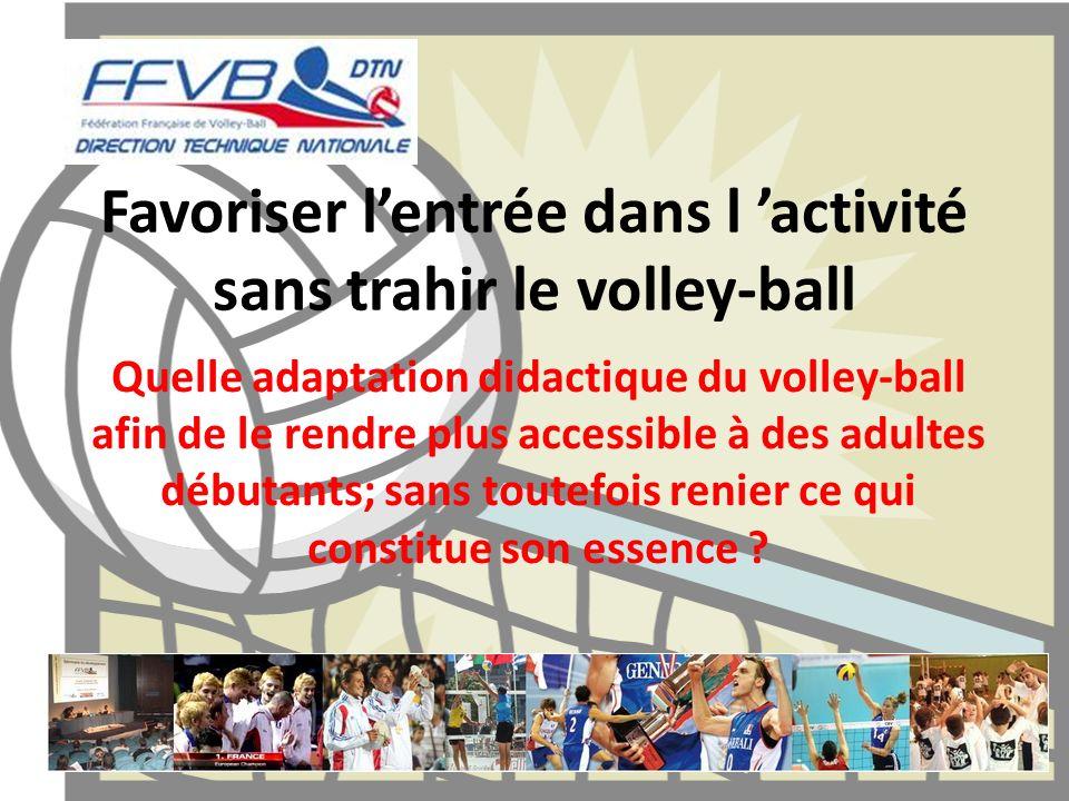 Favoriser lentrée dans l activité sans trahir le volley-ball Quelle adaptation didactique du volley-ball afin de le rendre plus accessible à des adult