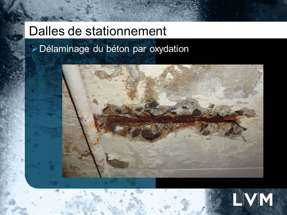 Dalles de stationnement Délaminage du béton par oxydation Insert photo