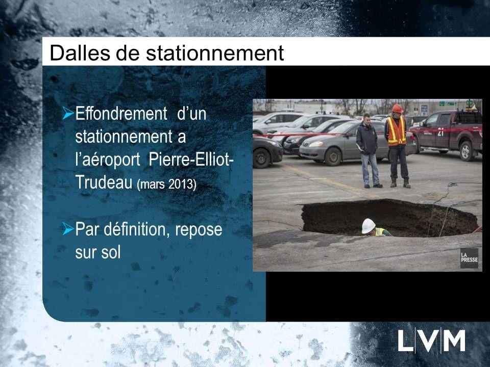 Dalles de stationnement Effondrement dun stationnement a laéroport Pierre-Elliot- Trudeau (mars 2013) Par définition, repose sur sol Insert photo