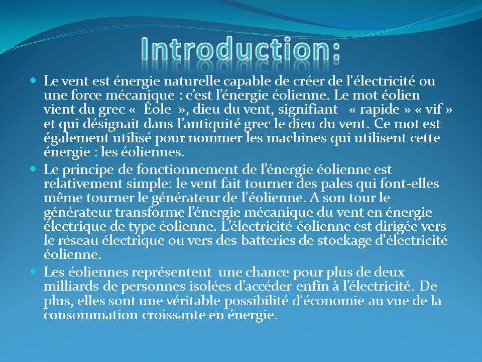 Le vent est énergie naturelle capable de créer de l'électricité ou une force mécanique : cest lénergie éolienne. Le mot éolien vient du grec « Éole »,