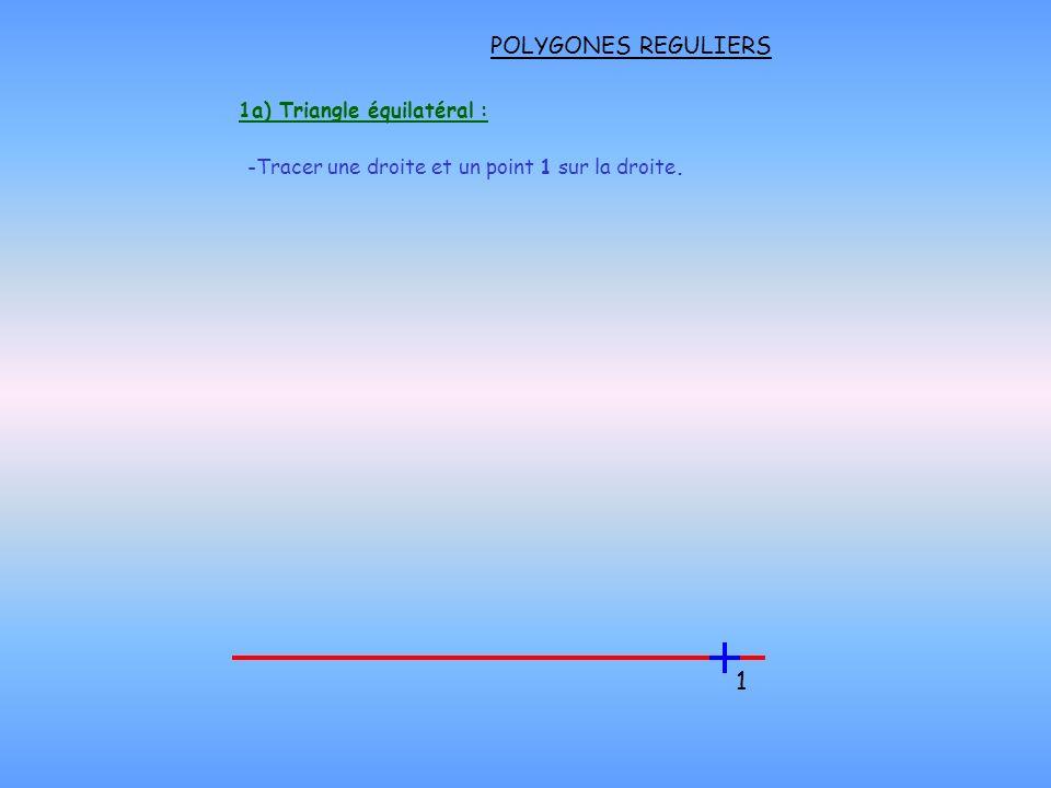 POLYGONES REGULIERS 1b) Triangle équilatéral : - Reporter le rayon R depuis le point 1 au dessus de la droite Garder le même écartement de compas pour toute la construction -Reporter le rayon R depuis le point 2 couper larc de cercle formant le point 3.
