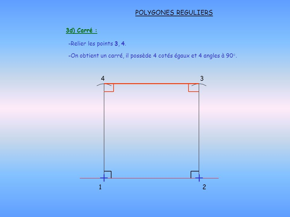 POLYGONES REGULIERS 3d) Carré : -Relier les points 3, 4.