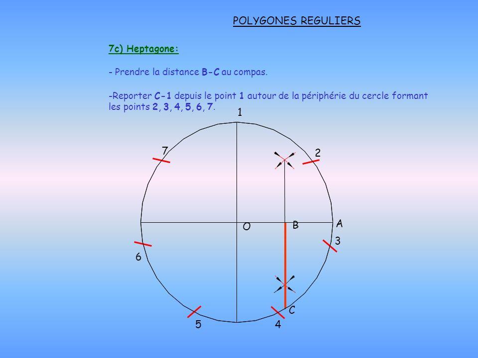 POLYGONES REGULIERS O 1 7 6 C 5 4 3 2 B 7c) Heptagone: A - Prendre la distance B-C au compas. -Reporter C-1 depuis le point 1 autour de la périphérie