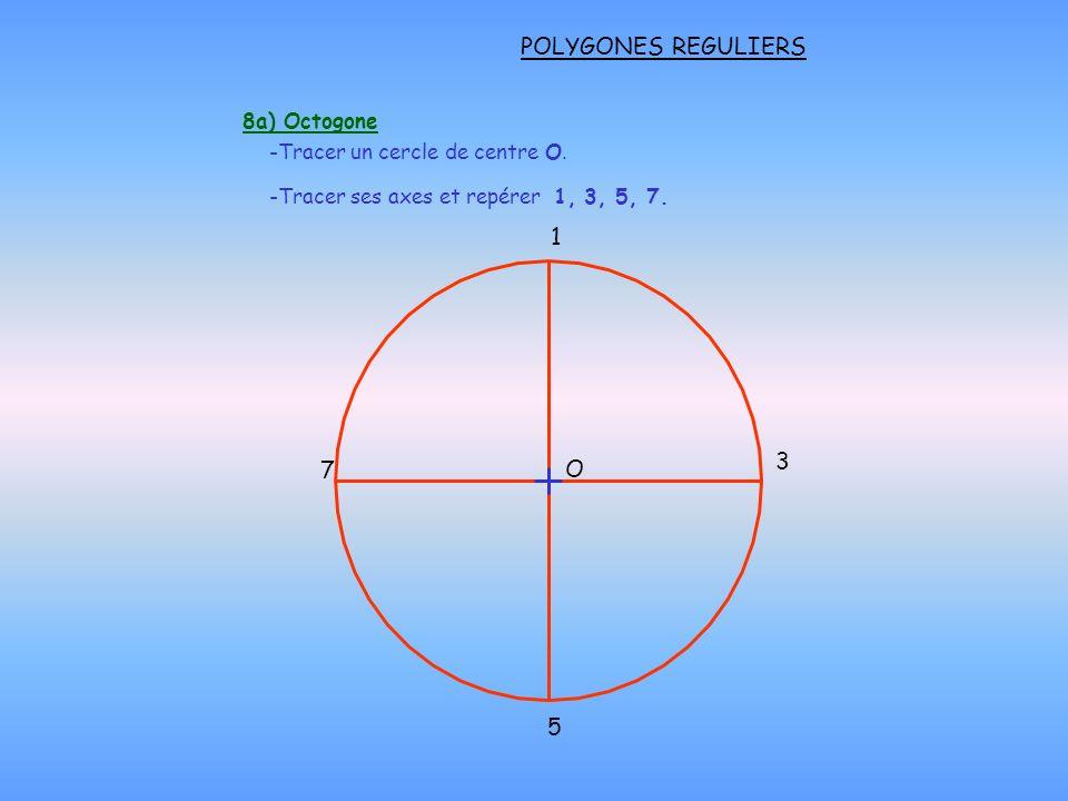 POLYGONES REGULIERS 8a) Octogone 1 3 5 7 -Tracer un cercle de centre O. -Tracer ses axes et repérer 1, 3, 5, 7. O