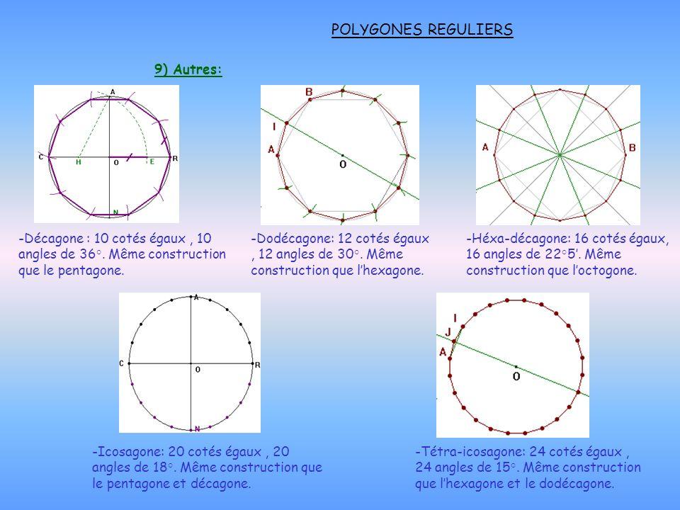 POLYGONES REGULIERS 9) Autres: -Décagone : 10 cotés égaux, 10 angles de 36°. Même construction que le pentagone. -Dodécagone: 12 cotés égaux, 12 angle