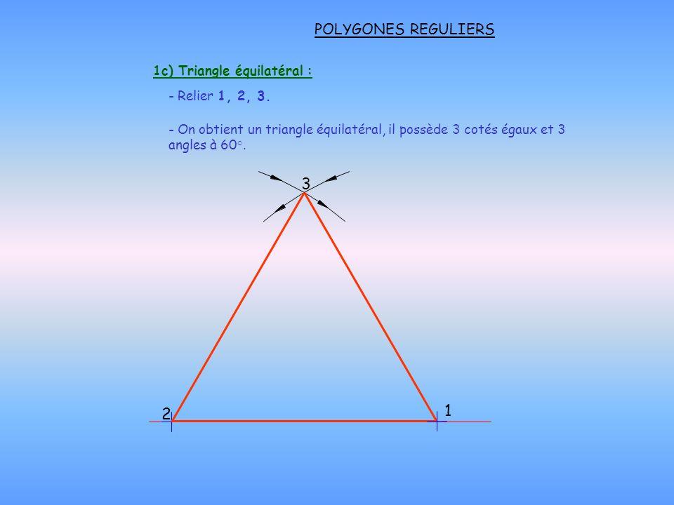 POLYGONES REGULIERS 1c) Triangle équilatéral : - Relier 1, 2, 3. 2 1 3 - On obtient un triangle équilatéral, il possède 3 cotés égaux et 3 angles à 60