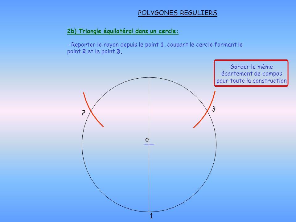 POLYGONES REGULIERS - Prendre la distance C-1 au compas.