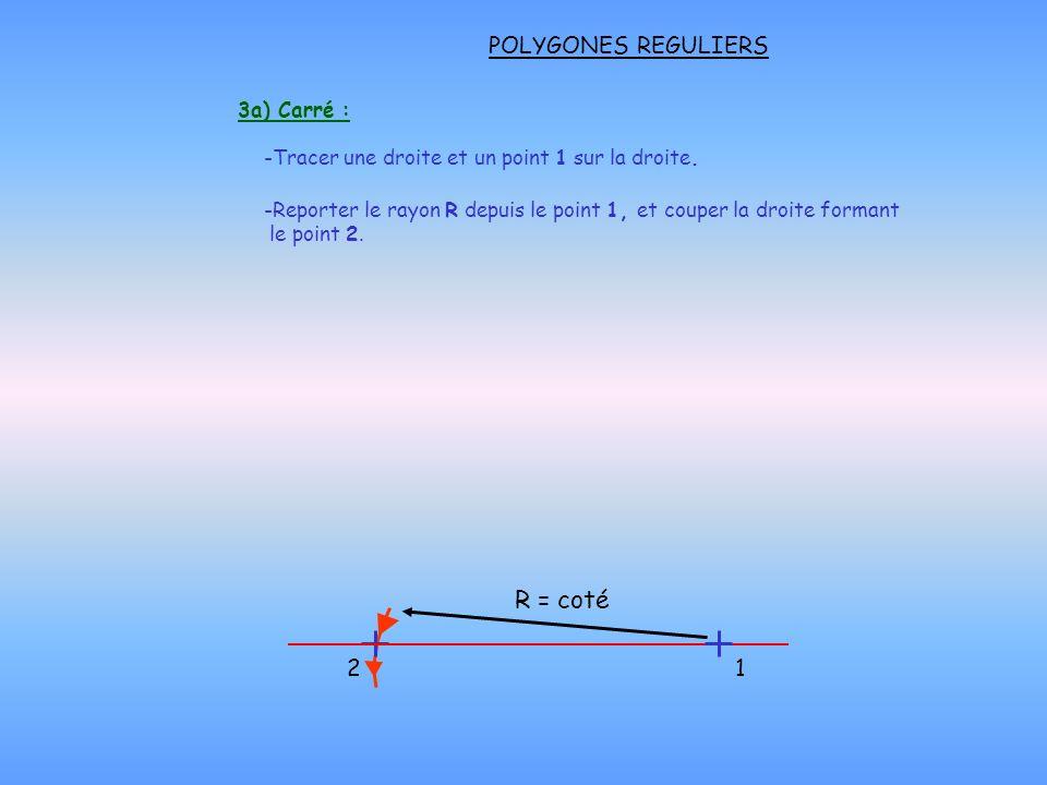 POLYGONES REGULIERS 3a) Carré : -Tracer une droite et un point 1 sur la droite. -Reporter le rayon R depuis le point 1, et couper la droite formant le