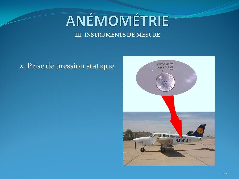 III. INSTRUMENTS DE MESURE 1. Le Tube Pitot Il permet de capter la pression totale 9