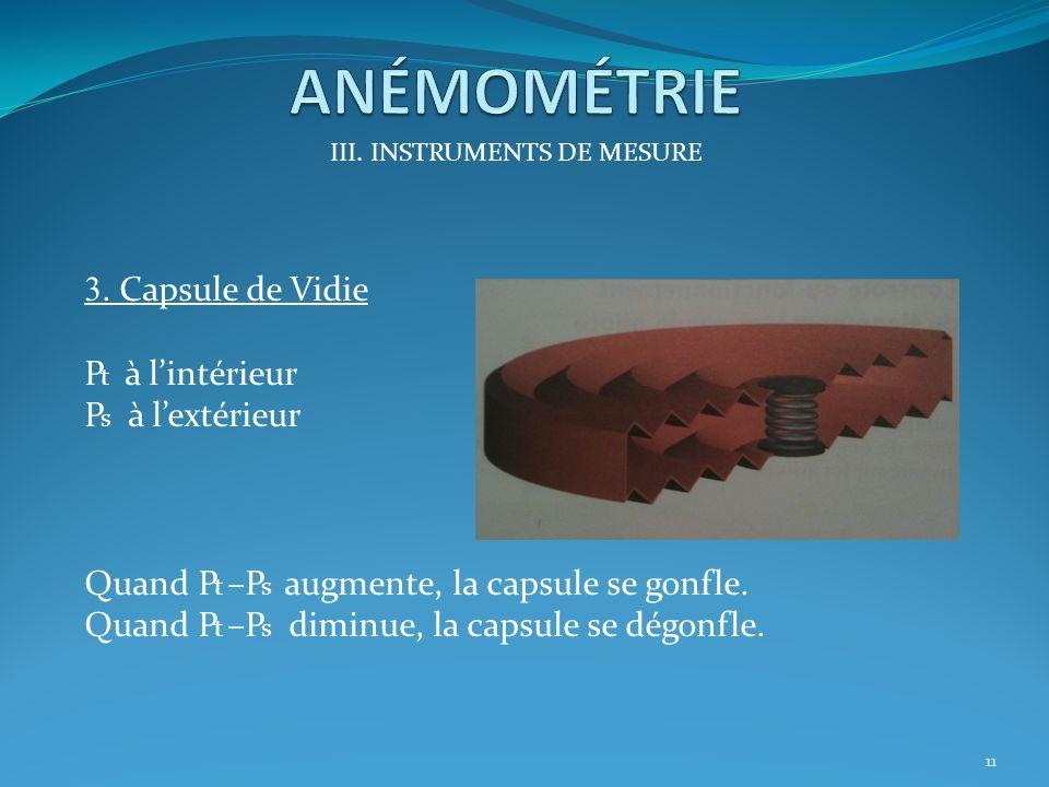 III. INSTRUMENTS DE MESURE 2. Prise de pression statique 10