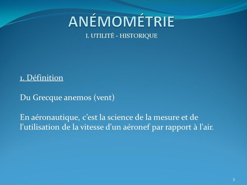 I.UTILITÉ – HISTORIQUE 1.Définition 2.Historique II.PRINCIPE PHYSIQUE III.INSTRUMENTS DE MESURE IV.FONCTIONNEMENT ET ERREURS V.PANNES 2