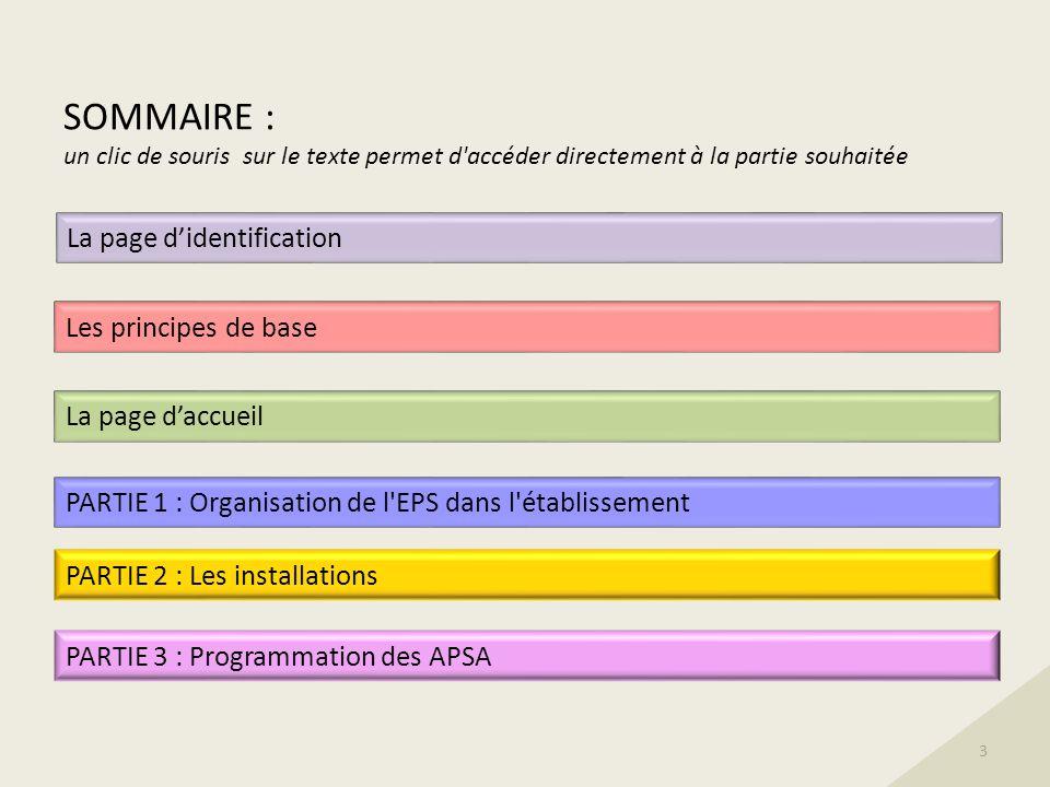 SOMMAIRE : un clic de souris sur le texte permet d accéder directement à la partie souhaitée PARTIE 1 : Organisation de l EPS dans l établissement PARTIE 2 : Les installations PARTIE 3 : Programmation des APSA Les principes de base 3 La page daccueil La page didentification