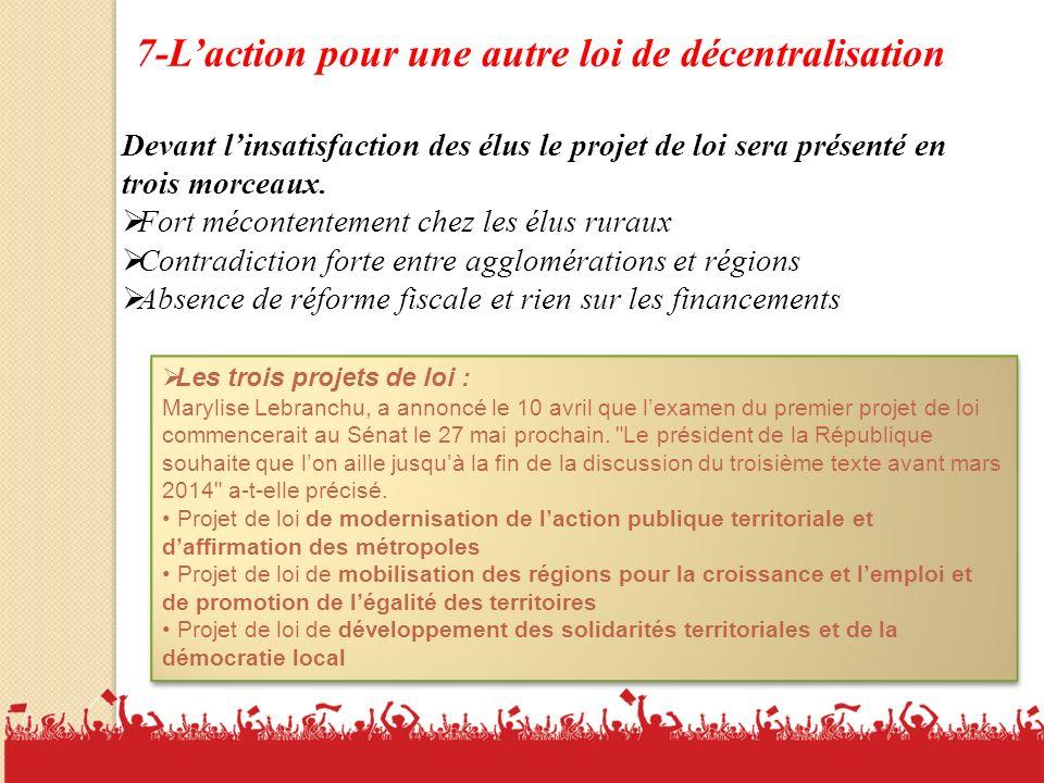18 7-Laction pour une autre loi de décentralisation Devant linsatisfaction des élus le projet de loi sera présenté en trois morceaux.