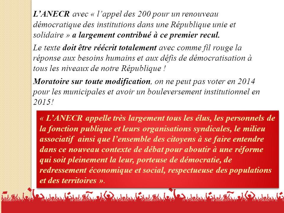 19 LANECR avec « lappel des 200 pour un renouveau démocratique des institutions dans une République unie et solidaire » a largement contribué à ce premier recul.
