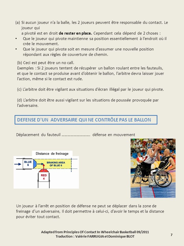 Adapted from Principles Of Contact In Wheelchair Basketball 09/2011 Traduction : Valérie FARRUGIA et Dominique BLOT (a)Si aucun joueur na la balle, le